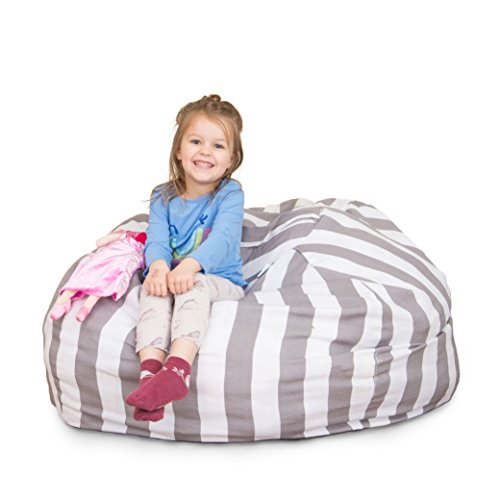 Chubberroo Stuffed Animal Bean Bag Chair for Kids, Extra Large Storage for Toys and More, Gray and White Stripe Lounger for Children, 38