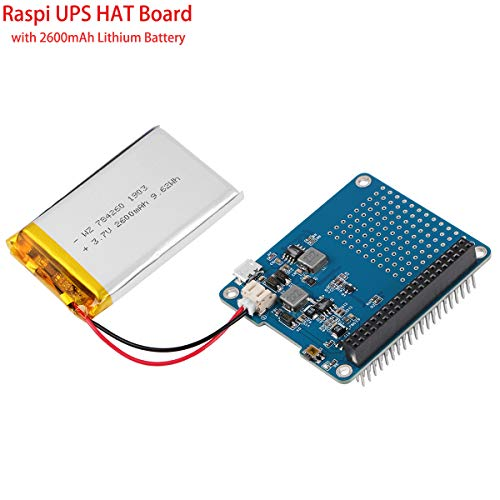 MakerFocus Raspberry Pi Battery Pack, Raspi UPS HAT Board(Raspberry Pi Battery) with 4 LED Power Indicator and 2600mAh Lithium Battery for Raspberry Pi 3B+/2B+ Module B
