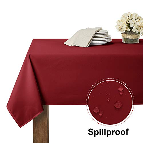 RYB HOME Spillproof Table Cloth for Rectangle Table 6 ft, Scratch & Stain Resistant Table Cover Protector for Party Event/Family Dinner, 60 x 84 inches, Ruby ()