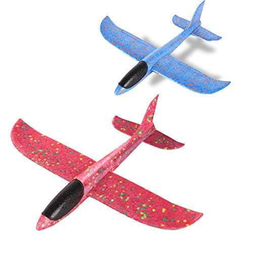 YKL WORLD 2PCS Foam Airplane, 13.5 inches Big Size Flying Gliders Aircraft EPP Hand Throwing Inertial Children Plane Outdoor Fun Challenging Toy for Boys Girls, Blue & Red by YKL WORLD