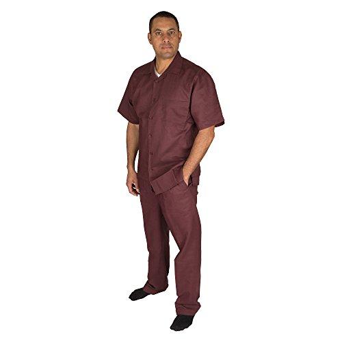 Vittorino Men's 100% Linen 2 Piece Walking Set with Long Pants and Short Sleeve Shirt, Plum, Large ()