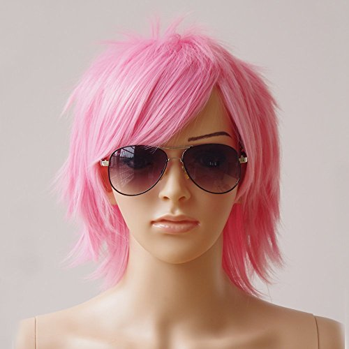 Synthetic Short Straight Fluffy Full Wig Oblique Fringe Curly Hair Tail for Anime Cosplay Costume Party for Men/Women (pink)...