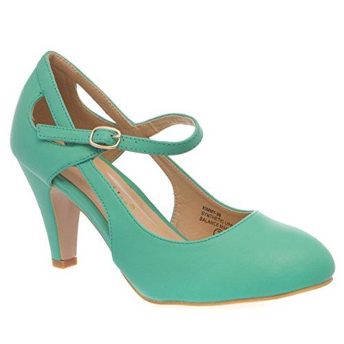 V-Luxury Womens 36-KIMMY35 Round Toe High Heel Mary Jane Pumps Shoes, Green PU Leather, 9 B (M) (Chloe Leather Platform Pumps)