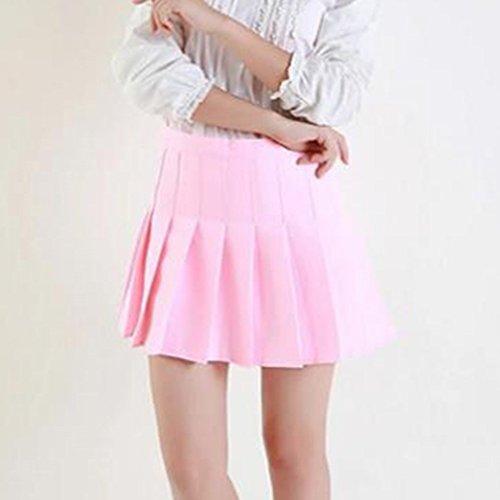 School Vintage hibote Style Doux Jupe Jupes Haute Uniformes Preppy Rose Mini Taille Jupe Femmes Filles Plisse wWB1pg