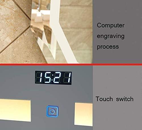 Tempo ^/_^ ZQ Grande Specchio da Bagno LED HD Grande Ovale Diamante Specchio da Parete Senza Cornice Retroilluminazione con sensore Pad demister