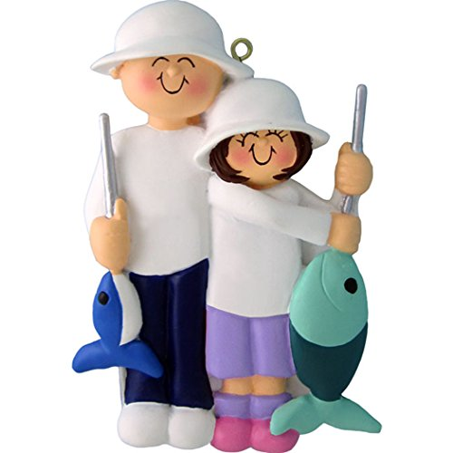 Personalized Fishing Couple Friends Christmas Tree Ornament 2019 - Man Girl Fisherman Gone Fishing Hook Trap Lake Grand-Daughter Dad Family Activity Hobby Father - Free Customization