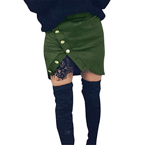 Donna Alta Sexy Party Hip Verde Elegante Bag Moika Cerniera Unita Gonna In Vita Tinta Party Con Cena Cocktail Pizzo Bottoni 5UqxwSWpx6