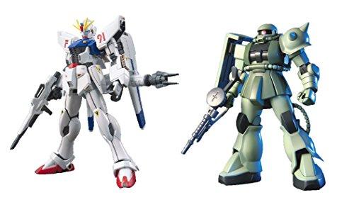 2 Bandai Gundam Model Sets - HGUC MS-06 ZAKU II Mobile Suit and F91 EFSF Prototype Attack (Japan Import)