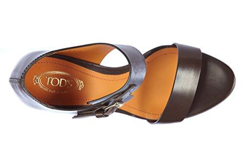 Tod's sandali donna con tacco pelle selleria fibietta marrone