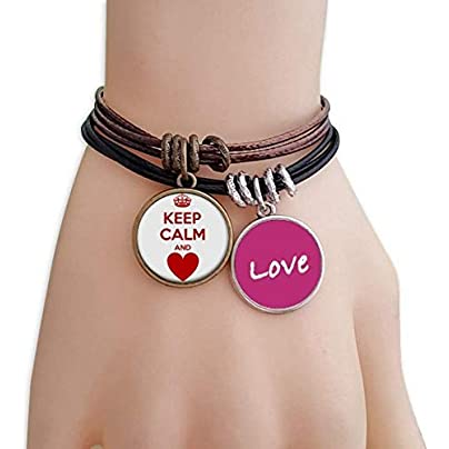 Metftus Quote Red Keep Calm And Love Love Bracelet Leather Rope Wristband Couple Set Estimated Price -