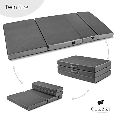 "Twin Folding Mattress – 4"" Thick x 75"" x 39"" - Trifold Foam Mat with Carrying Handles and Removable Washable Cover – Lightweight, Portable, Easy To Store – by Cozzzi"