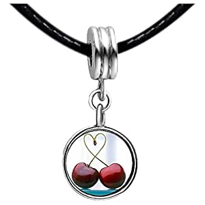 Chicforest Silver Plated Two Cherry Into the heart Photo Sapphire Crystal September Birthstone Flower dangle Charm Beads Fits Pandora Charms
