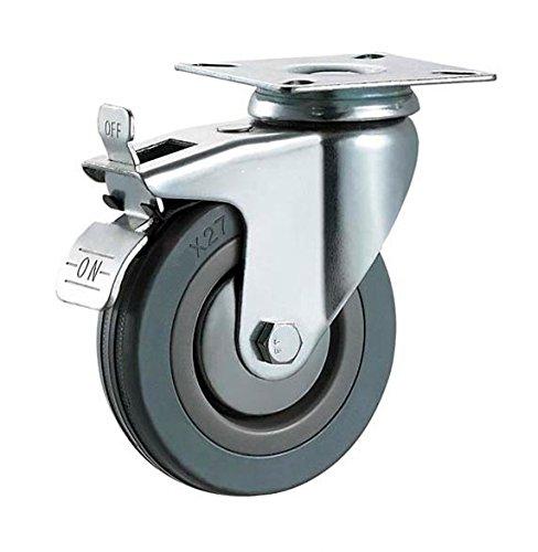 100mm Non Marking Grey Hard Rubber Castors Swivel Braked /& Fixed Plate Fitting Max 320Kg Per Set Heavy Duty Casters Wheels by Bulldog Castors