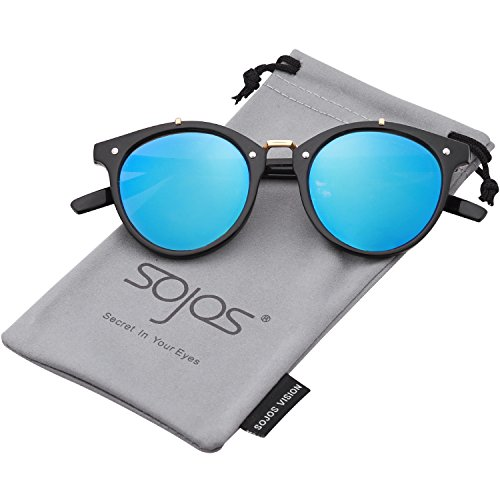 SojoS Vintage Retro Round Sunglasses Mirror Tinted Circle Lens Men Women SJ2054 with Black Frame/Blue Mirrored Lens