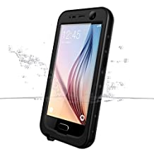 Galaxy S6 Waterproof Case, iThrough Waterproof, Dust Snow Shock Proof Case with Touched Transparent Screen Protector, Heavy Duty Protective Carrying Cover Case for Galaxy S6 (Black)