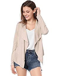 Women's Zip up Cuffs Draped Front Faux Suede Jacket