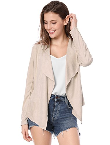 (Allegra K Women's Zip up Cuffs Draped Open Front Faux Suede Jacket Light Pink L (US 14))