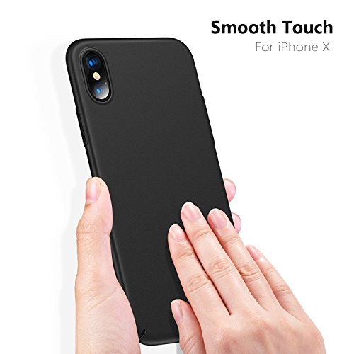 TORRAS Slim Fit iPhone Xs Case/iPhone X Case, Hard Plastic PC Ultra Thin Mobile Phone Cover Case with Matte Finish Coating Grip Compatible with iPhone X/iPhone Xs 5.8 inch, Space Black by TORRAS (Image #4)