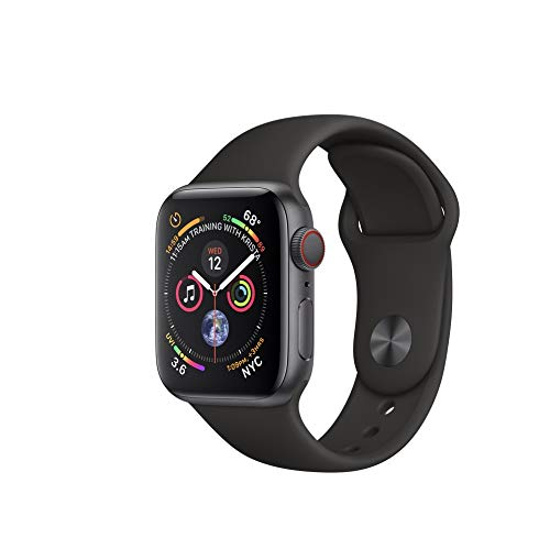 Apple Watch Series 4 (GPS Cellular) Aluminum Case Unlocked Compatible with iPhone 5s and Above (Space Gray Aluminum Case with Black Sport Band, 44mm)