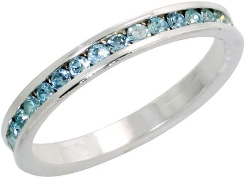 Women Aquamarine Gemstone 3-MM Wide Stainless Steel Eternity Ring