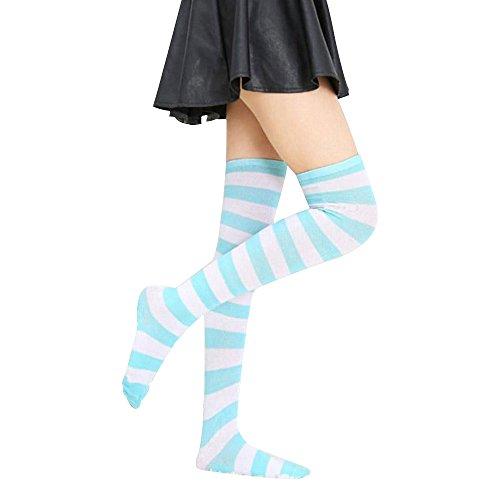 Vin beauty wlgreatsp cebra Stripey A través de los calcetines hasta la rodilla media rayada Alta del muslo arco iris: Amazon.es: Ropa y accesorios