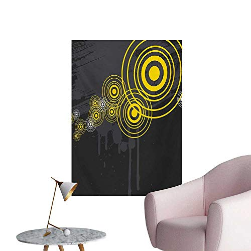 (Anzhutwelve Grey and Yellow Photographic Wallpaper Music Street Design Inspired Geometrical Inner Circles ImageCharcoal Grey and Black W20 xL28 Poster Print)