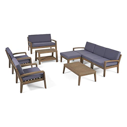 Great Deal Furniture Sally 7-Seater Sectional Sofa Set for Patio with Loveseat, Club Chairs, Ottoman, and Coffee Tables, Acacia Wood, Gray Finish with Dark Gray Outdoor Cushions