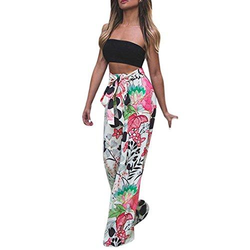 Women Trousers Floral Palazzo Wide Leg High Waist Long Loose Casual Pants by XILALU (XL, ()