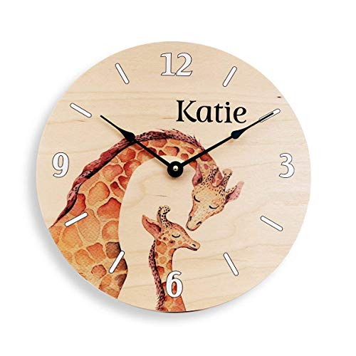 Personalized wall clock for girls. Girl's clock. Giraffe clock. Cartoon giraffe clock. Custom clock. Personalized wall art.