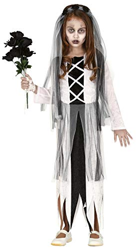 Girls Spooky Ghostly Corpse Dead Zombie Bride Girlfriend Scary Halloween Fancy Dress Costume Outfit 5-12 Years (7-9 Years)]()