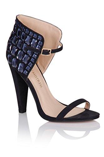 Little Mistress Navy Gem Ankle Detail Heels Navy Blue hieaeRnM