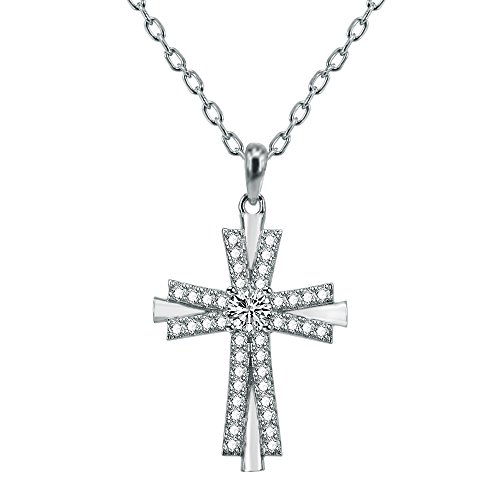 AoedeJ Religious Cross Pendant Necklace Sterling Silver Round Cut CZ Crucifix Necklace for Women and Men