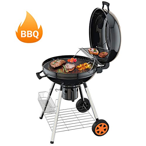 TACKLIFE Charcoal Grill, 22.5-Inch, BBQ Outdoor Picnic, Black