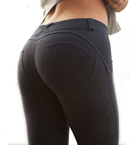 BLUEHUO Women Low Waist Leggings Push Up Sexy Hip Solid Trousers For Women Fashion Elastic Leggings