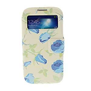 Blue Rose Pattern Leather Case with Stand for Samsung Galaxy S IV I9500