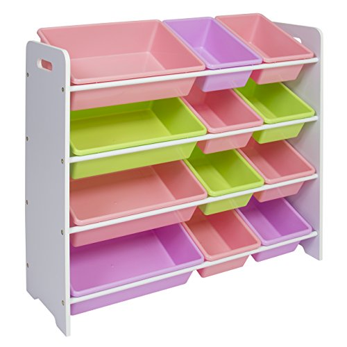 Best Choice Products 4-Tier Kids Wood Toy Storage Organizer Shelves Rack for Playroom, Bedroom, Living Room, Class Room w/ 12 Easy-To-Clean Removable Plastic Bins - Pastel