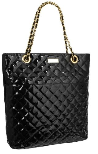 Quilted Patent Bag (EyeCatchBags - Polo Quilted Patent Shoulder Bag Handbag Black)