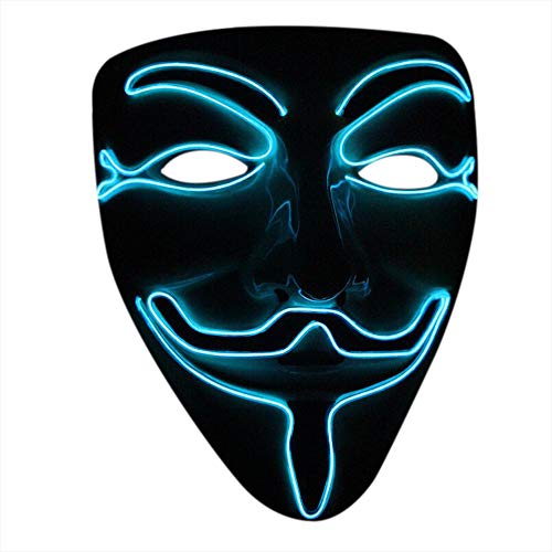Nuoka Halloween Cosplay Masquerades LED Mask V for Vendetta Mask (Ice Blue)