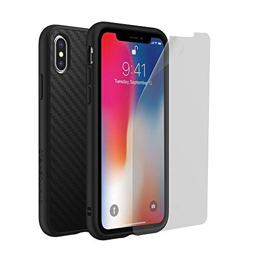 RhinoShield Case for iPhone X [SolidSuit] [Special Bundle] | with Impact Protection Screen Protector - Shock Absorbent Slim Design Phone Case [3.5M / 11ft Drop Protection] - Carbon Fiber