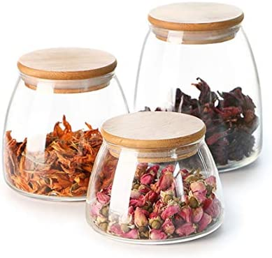 SET OF 3 TEA COFFEE SUGAR CANISTERS STORAGE POT JARS WITH BAMBOO AIR TIGHT LID