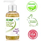 Natural Organic Facial Cleansing Oil - Gentle Face Wash and Makeup Remover Rich in Vitamin C, E, Hemp Seed Oil and Herbal Oils - Daily Anti Aging Anti Wrinkle Skin care for Dry, Sensitive & Oily Skin