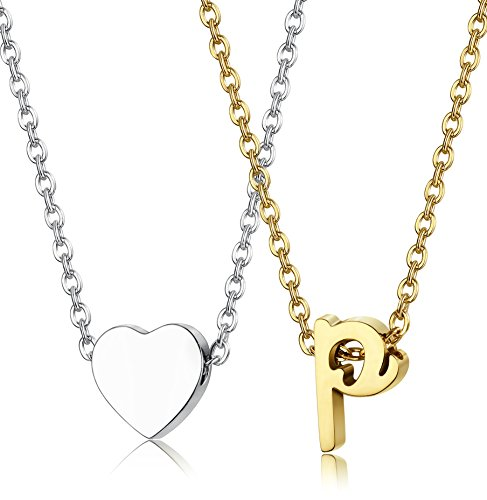 LOYALLOOK 2pcs Stainless Steel Gold Tone Initial Necklace Silver Tone Heart Necklace Set Alphabet Pendant Necklace 16