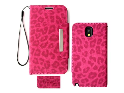 Samsung Galaxy Note 3 N9000 Leopard Print Deluxe PU Leather Wallet Folio Case Cover