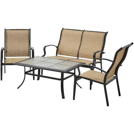 Mainstays Wesley Creek 4-Piece Sofa Set, with 1 loveseat, 2 chairs and coffee table, Tan ()