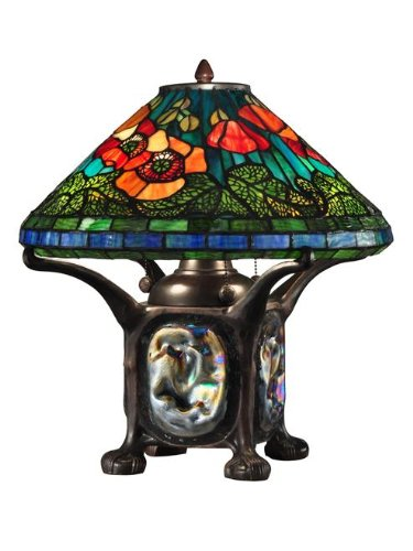 Dale Tiffany TT12329 Poppy Table Lamp with Night Light, 16.0