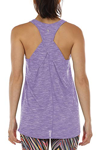 icyzone Workout Tank Shirts for Women - Athletic Exercise Yoga Gym Tops, Womens Muscle Tank (Lavender, L)