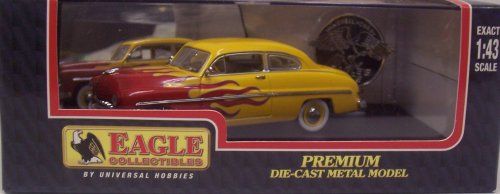 Eagle Collectibles 1557 1949 Mercury Club Coupe Hot Rod/Street Rod - Yellow with Red Flames - 1:43 Scale ()