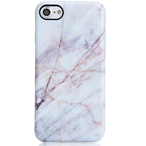 VIVIBIN Marble iPhone 7 Case,Case for iPhone 8,Cute Light Pink Design for Women Girls Clear Bumper Soft Silicone Rubber Matte TPU Best Protective Cover Slim Fit Phone Case for iPhone 7/iPhone 8