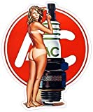 """AC Delco Spark Plug Pin Up Girl Decal 5"""" Fast from the United States"""