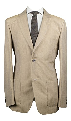 brioni Brown Linen Blend With Leather 2 Button Sport Coat Size Large (Linen Brioni Suit)